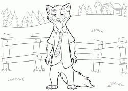 The wily fox Nick Wilde in front of a fence